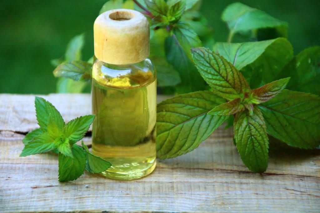 Aromaöl und Pfefferminzblätter