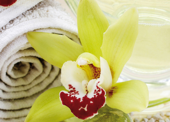 Orchideenblüte und Handtuch